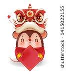 lion head holding a badge. rat... | Shutterstock .eps vector #1415022155