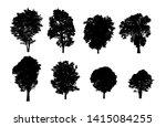 set of trees silhouette for... | Shutterstock . vector #1415084255
