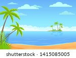 tropic island sand beach with... | Shutterstock .eps vector #1415085005