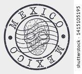 mexico skull stamp. dead... | Shutterstock .eps vector #1415105195