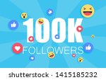 thank you 100 000 followers... | Shutterstock .eps vector #1415185232