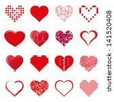 vector hearts set | Shutterstock .eps vector #141520408