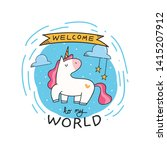 cute t shirt design with unicorn | Shutterstock .eps vector #1415207912