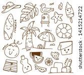 set of summer doodle on white... | Shutterstock .eps vector #1415214722
