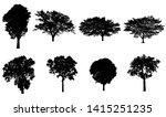 set of trees silhouette for... | Shutterstock . vector #1415251235