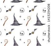 watercolor halloween seamless...   Shutterstock . vector #1415254208
