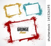set of grunge vector frames.... | Shutterstock .eps vector #141526195