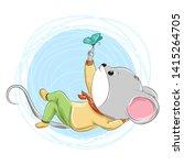 cute little mouse  hand drawn... | Shutterstock .eps vector #1415264705