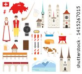 Switzerland symbols collection. Set with architecture, national flag, costume, food, cow, map and other swiss elements in flat style. Vector illustration