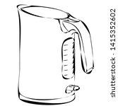 electric kettle sketch  contour ... | Shutterstock .eps vector #1415352602