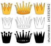 white background  golden crown... | Shutterstock .eps vector #1415352842