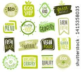 organic food labels. natural... | Shutterstock .eps vector #1415358035