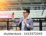 happy asian businessman selfie... | Shutterstock . vector #1415372345