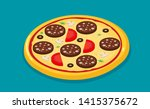 isometric icon of italian pizza ...