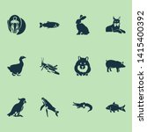 fauna icons set with carp ... | Shutterstock . vector #1415400392