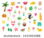 summer set with hand drawn... | Shutterstock .eps vector #1415401088