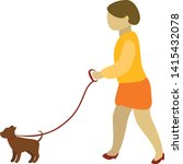 Stock vector woman walking with a dog 1415432078