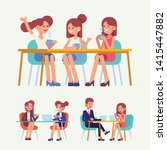 young  people  friends sitting... | Shutterstock .eps vector #1415447882