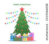 christmas green tree with gift... | Shutterstock . vector #1415466038