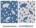 Stock vector bear hare and fox sitting among christmas trees and snow flakes abstract hand drawn woodland 1415488262