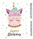 happy birthday card. cute... | Shutterstock .eps vector #1415535458