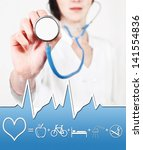 Prevention measures diseases. Doctor with stethoscope - stock photo