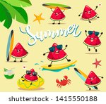 funny and cute summer... | Shutterstock .eps vector #1415550188