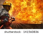 firemen using extinguisher and ... | Shutterstock . vector #141560836