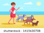 Stock vector dog walking services woman walks with four dogs 1415630708