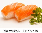 two pieces of salmon nigiri... | Shutterstock . vector #141572545