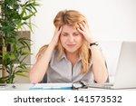 mature woman with headache... | Shutterstock . vector #141573532