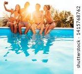 group of friends taking selfie...   Shutterstock . vector #1415768762