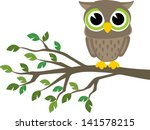 Stock vector little cute owl sitting on a branch isolated on white background vector format very easy to edit 141578215