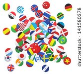 collection of flag button... | Shutterstock .eps vector #141580378