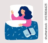 woman sleeping at night in her... | Shutterstock .eps vector #1415836625