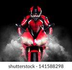 motorcyclist in red equipment... | Shutterstock . vector #141588298