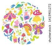 funny vector fantasy pattern... | Shutterstock .eps vector #1415901272