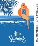 vector summer pool party poster ... | Shutterstock .eps vector #1415901278