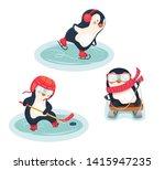 winter sports. childrens sports ... | Shutterstock . vector #1415947235