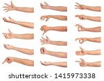 set of man hand isolated on... | Shutterstock . vector #1415973338