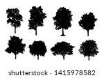 set of trees silhouette for... | Shutterstock . vector #1415978582