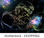 sketch of rodin's thinker and... | Shutterstock . vector #141599362