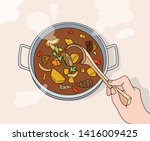 there is soup on the pot with a ... | Shutterstock .eps vector #1416009425