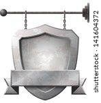 shield shaped rusty metal... | Shutterstock .eps vector #141604372