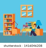 home study room with books... | Shutterstock .eps vector #1416046208