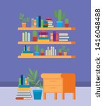 home study room with books... | Shutterstock .eps vector #1416048488