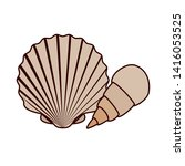 cute seashell on the sea in... | Shutterstock .eps vector #1416053525