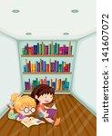 illustration of the two girls... | Shutterstock .eps vector #141607072
