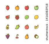 vector fruits icon set   vector ...   Shutterstock .eps vector #1416083918