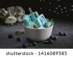 blue popsicles with blueberries ... | Shutterstock . vector #1416089585